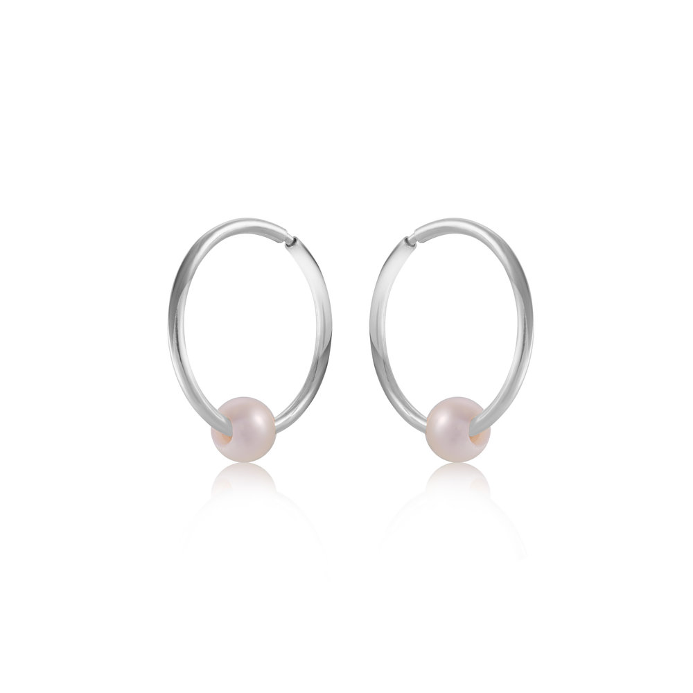 11mm sleepers earrings with pearl - 10K white Gold
