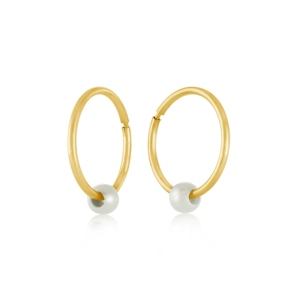 15mm sleepers earrings with pearl - 10K yellow Gold