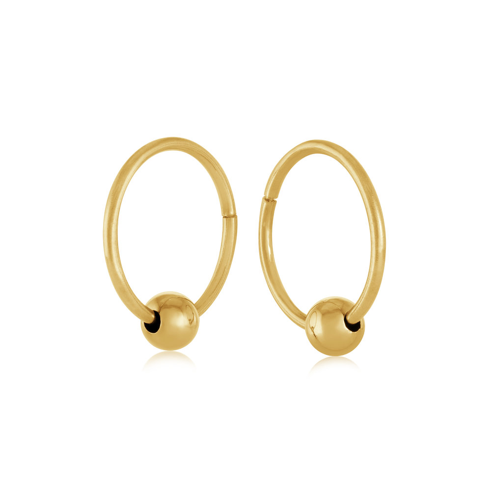 15mm sleepers earrings with gold bead - 10K yellow Gold
