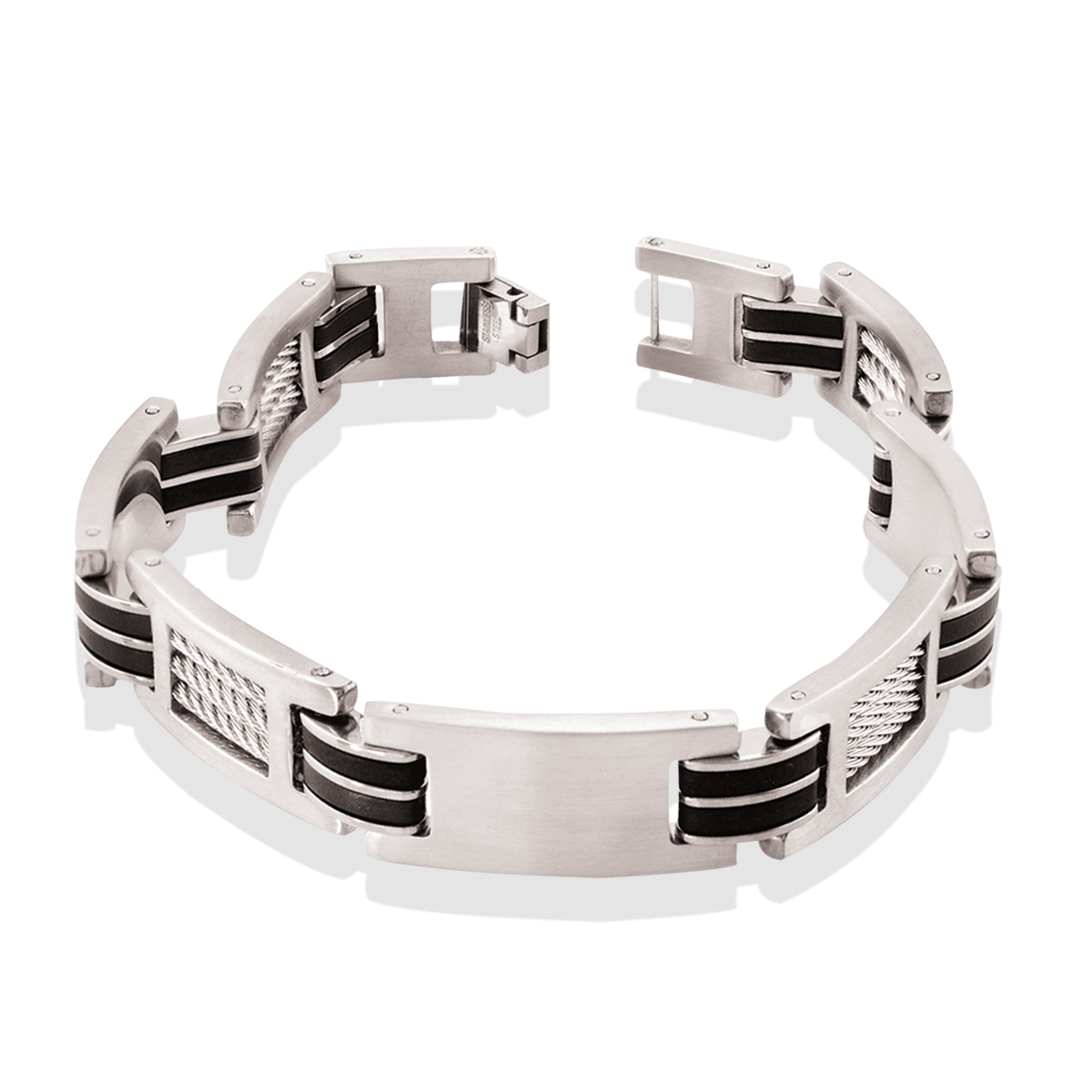8.5'' Bracelet - Stainless steel & rubber and cables