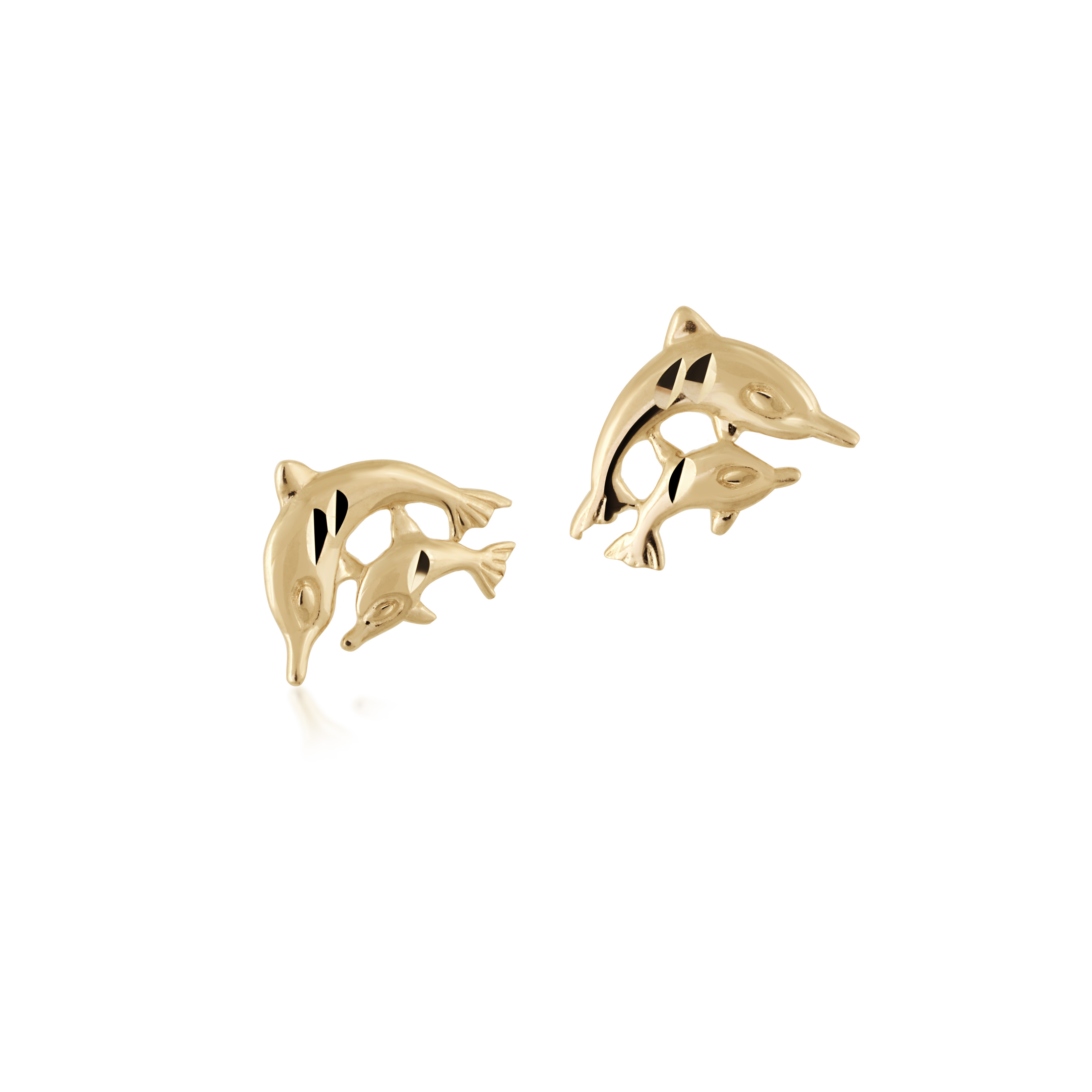 Dolphin stud earrings for children - 14K yellow Gold