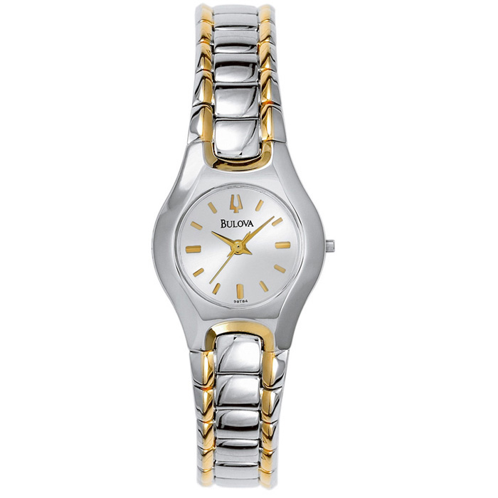 Women's Bulova watch - 2-tone with silver-tone dial & Curved crystal.