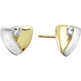 Stud earrings for women - 10K 2 tone Gold (yellow and white) & cubic zirconia