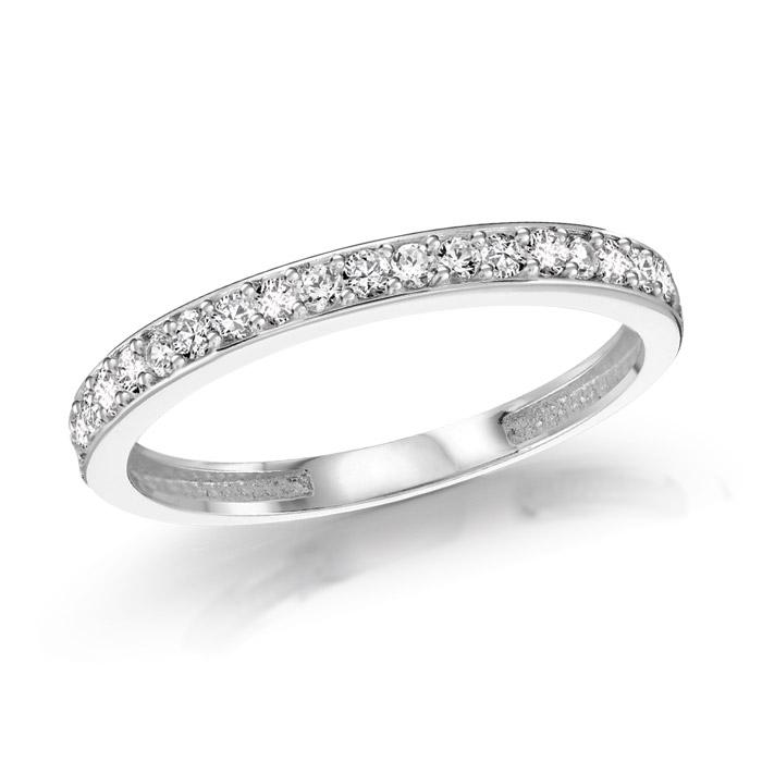 Half-eternity ring - 10K white Gold & Cubic zirconia
