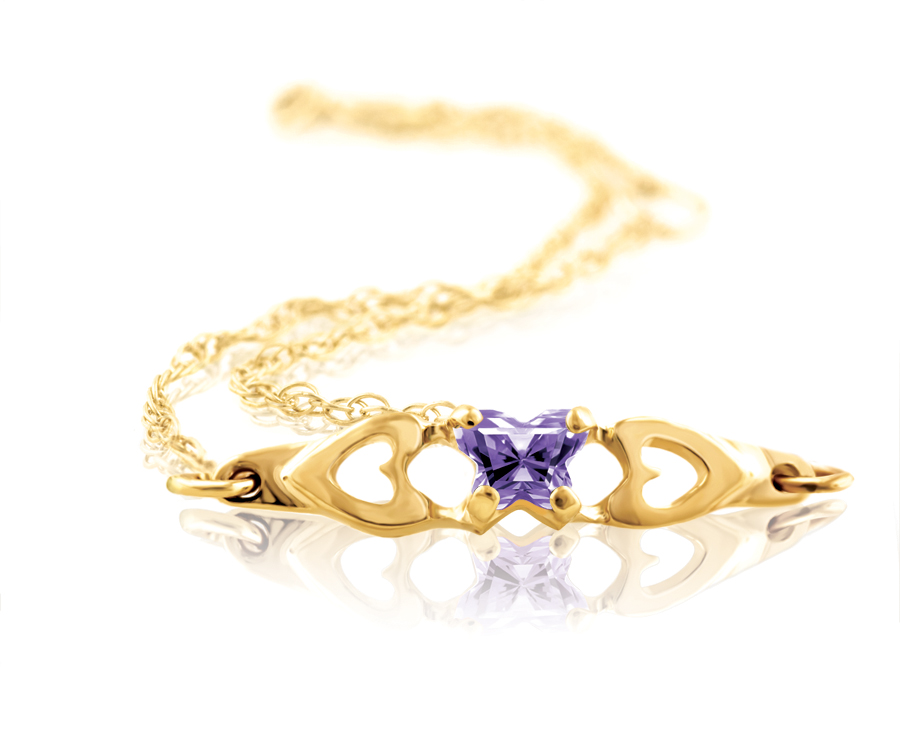 bracelet for babies or young gilrs with purple cubic zirconia (month of February) - in 10K yellow gold