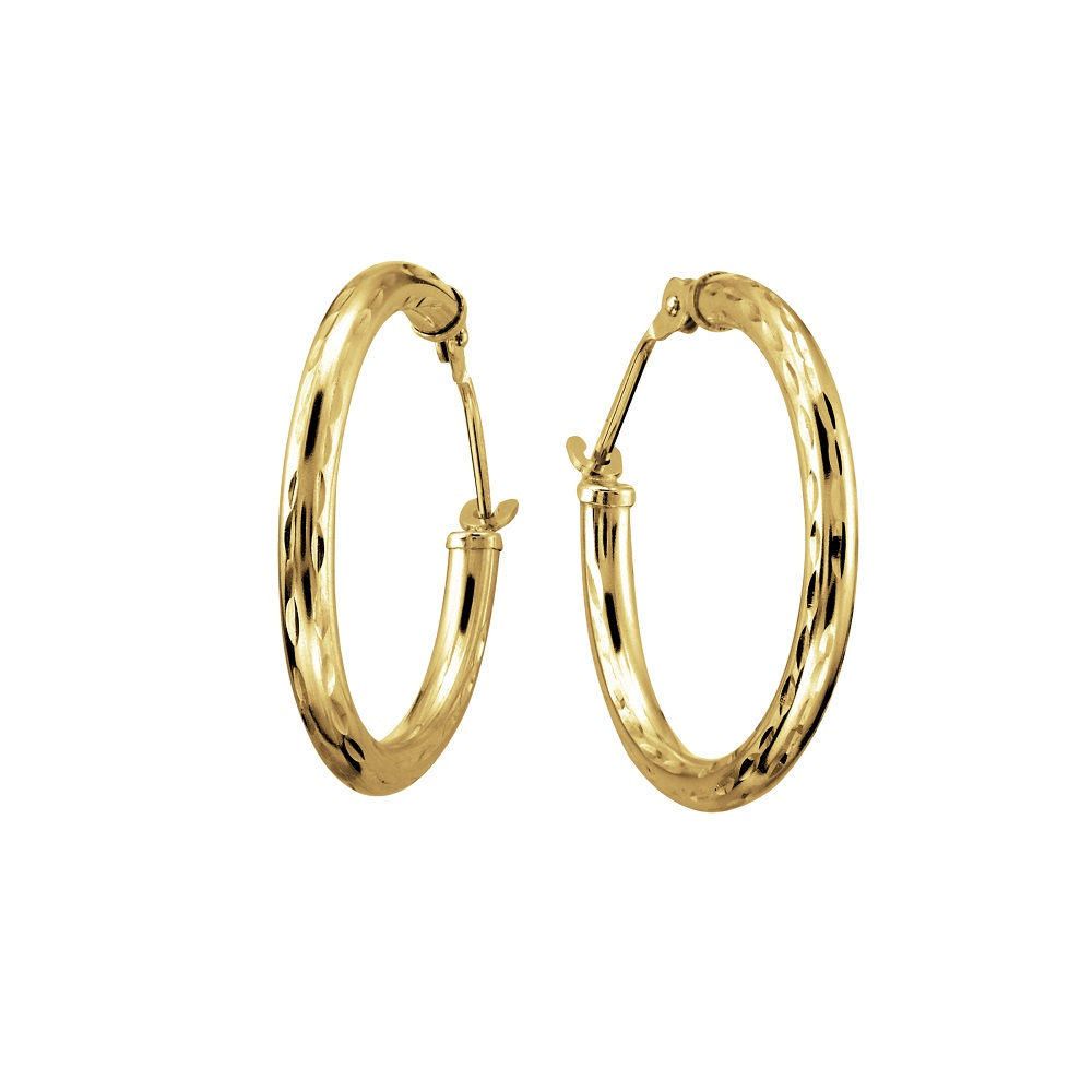Hoop earrings with a diamond cut finish - 10K yellow Gold - 20mm