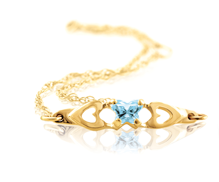 bracelet for babies or young girls with light blue cubic zirconia (month of March) - in 10K yellow gold