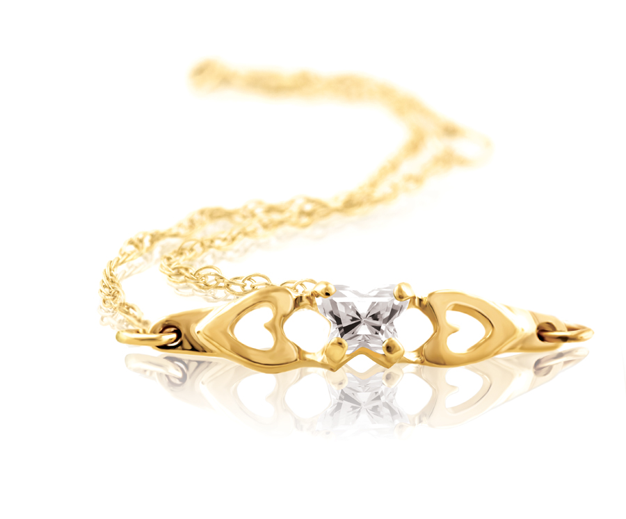 bracelet for babies or young girls with cubic zirconia (month of April) - in 10K yellow gold