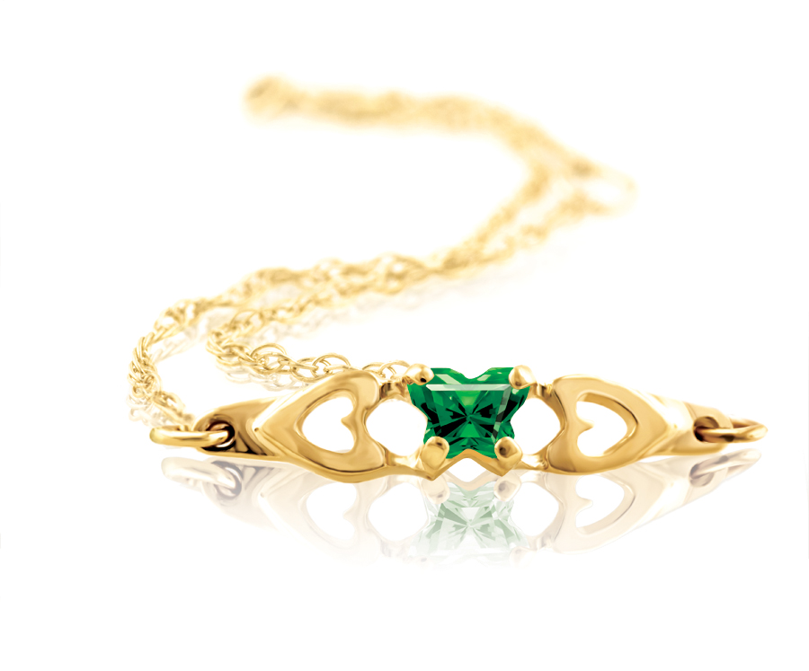 bracelet for babies or young girls with green cubic zirconia (month of May) - in 10K yellow gold