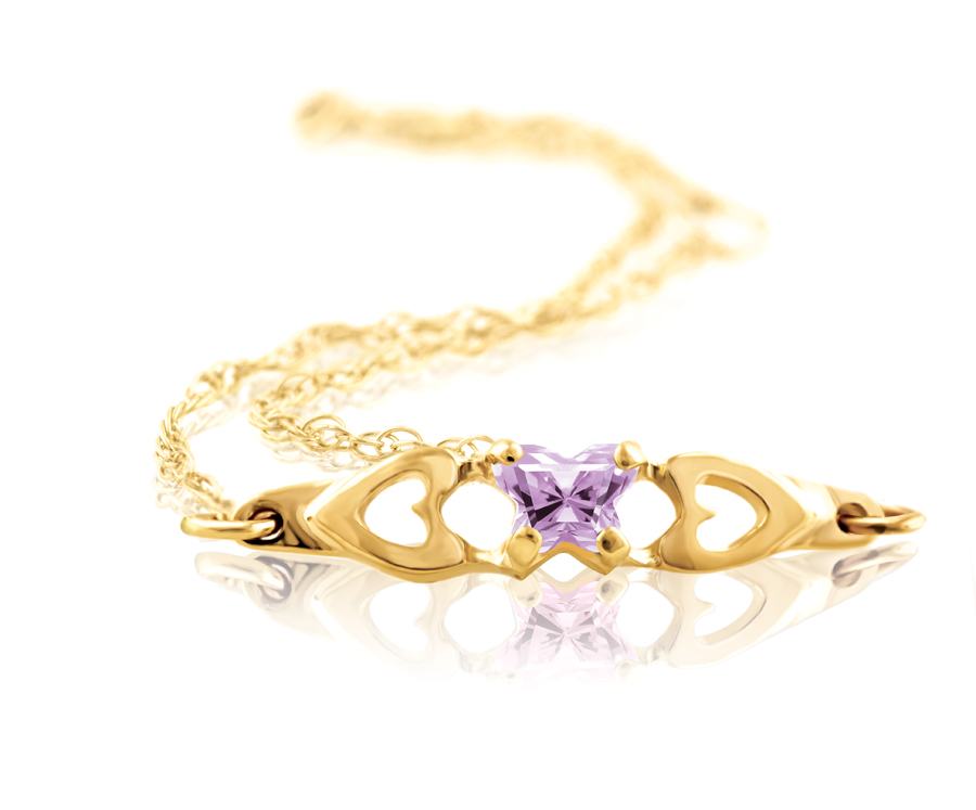 bracelet for babies or young girls with light purple cubic zirconia (month of June) - in 10K yellow gold