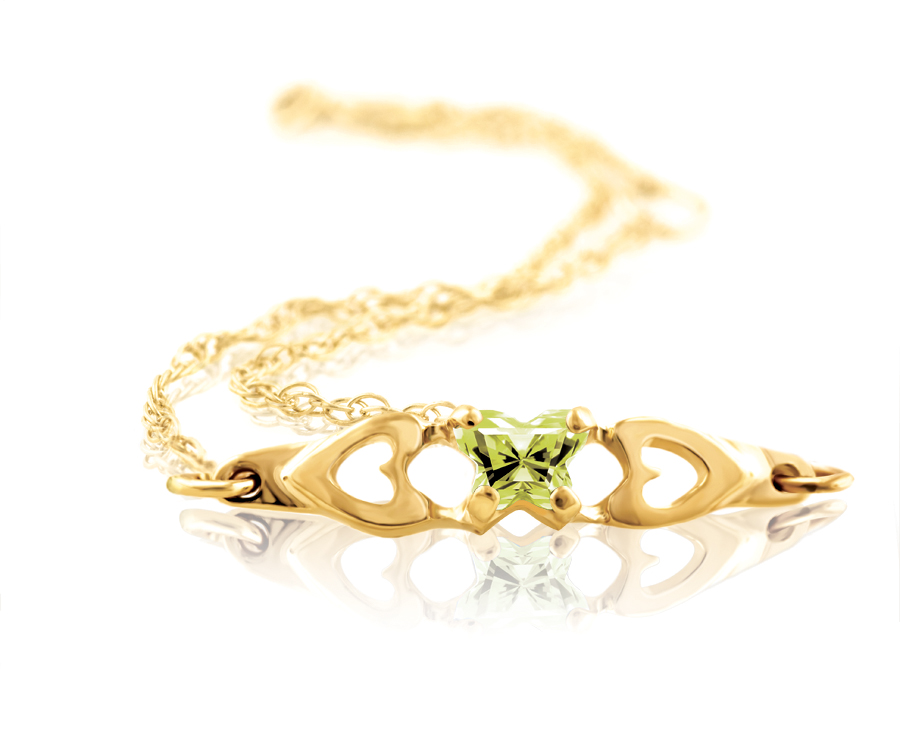 bracelet for babies or young girls with yellowish-green cubic zirconia (month of August) - in 10K yellow gold