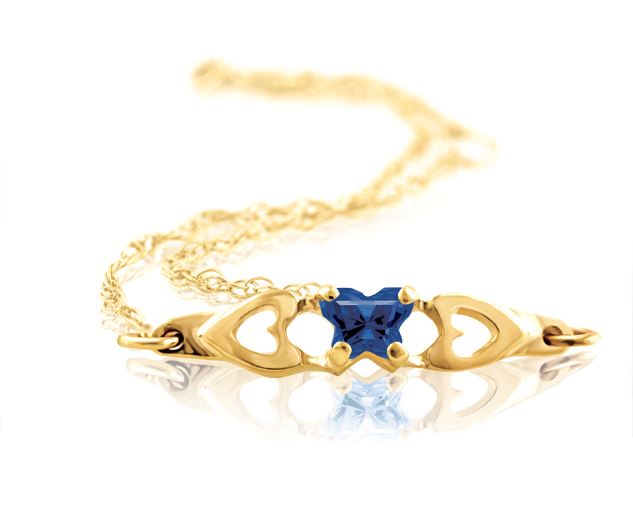 bracelet for babies or young girls with dark blue cubic zirconia (month of September) - in 10K yellow gold