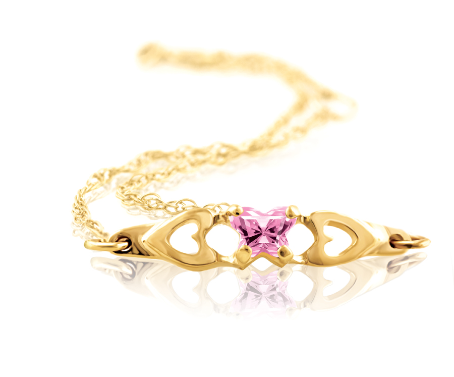 bracelet for babies or young girls with pink cubic zirconia (month of October) - in 10K yellow gold