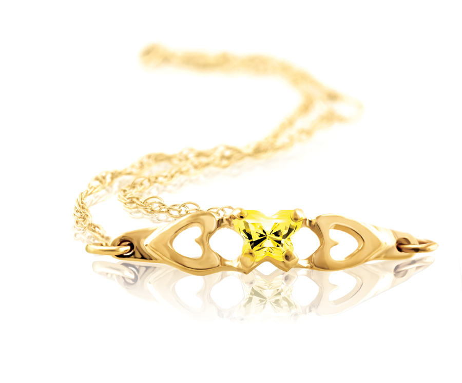 bracelet for babies or young girls with yellow cubic zirconia (month of November) - in 10K yellow gold