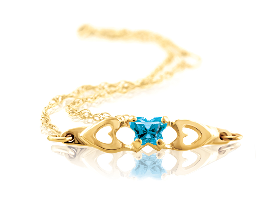 bracelet for babies or young girls with blue cubic zirconia (month of December) - in 10K yellow gold
