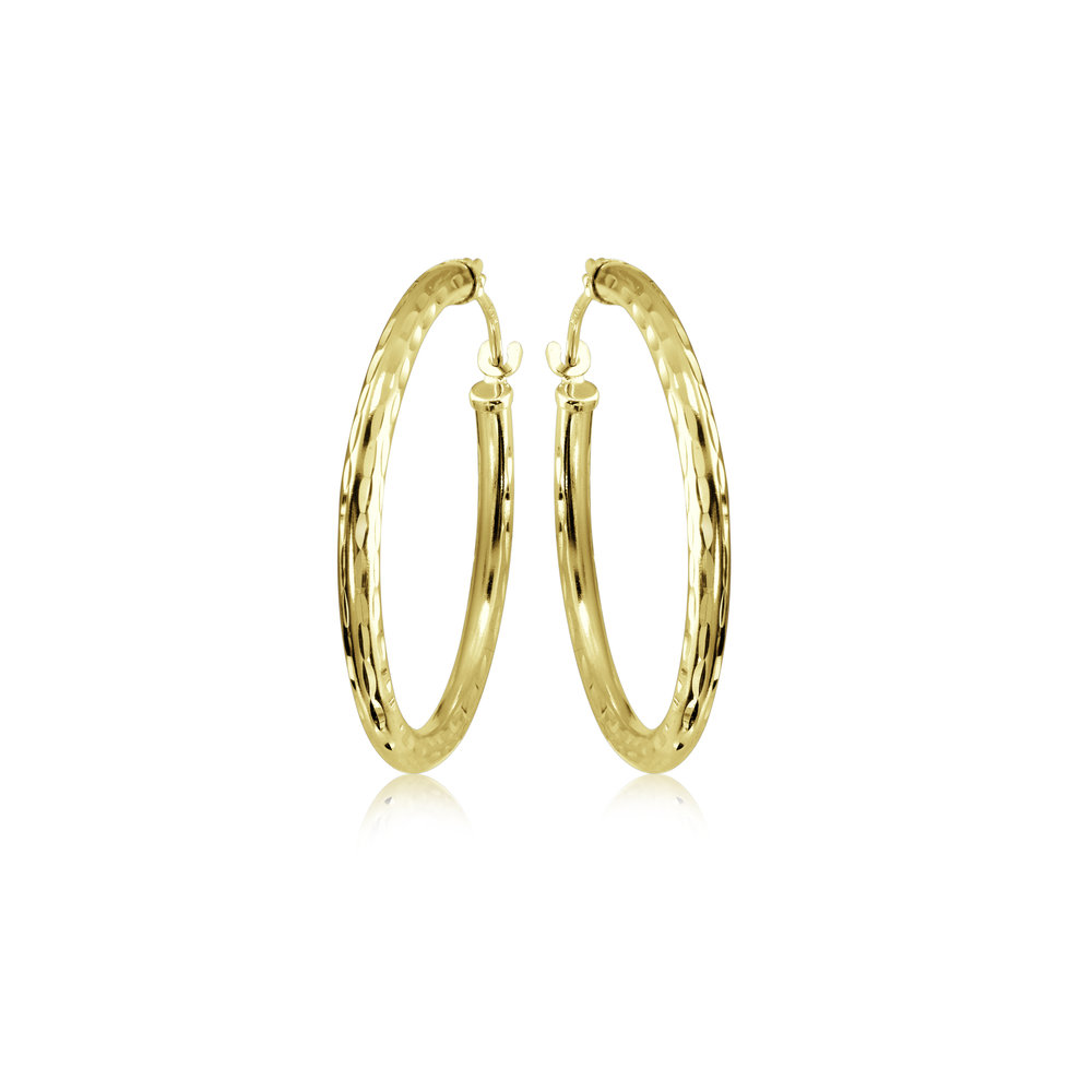 Hoop earrings with a diamond cut finish - 10K yellow Gold