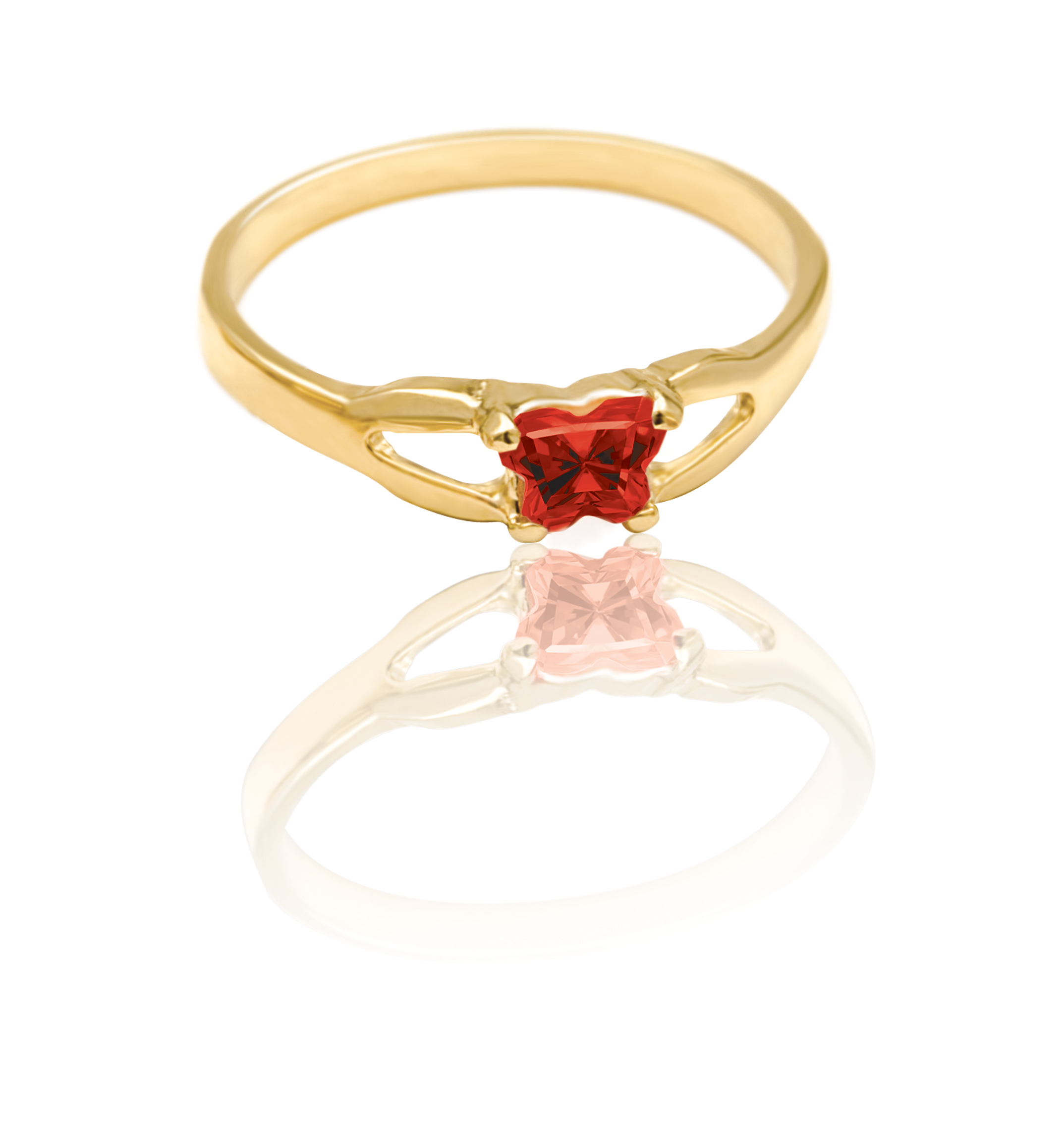 ring for child - 10K yellow Gold & Dark red cubic zirconia (month of January)*