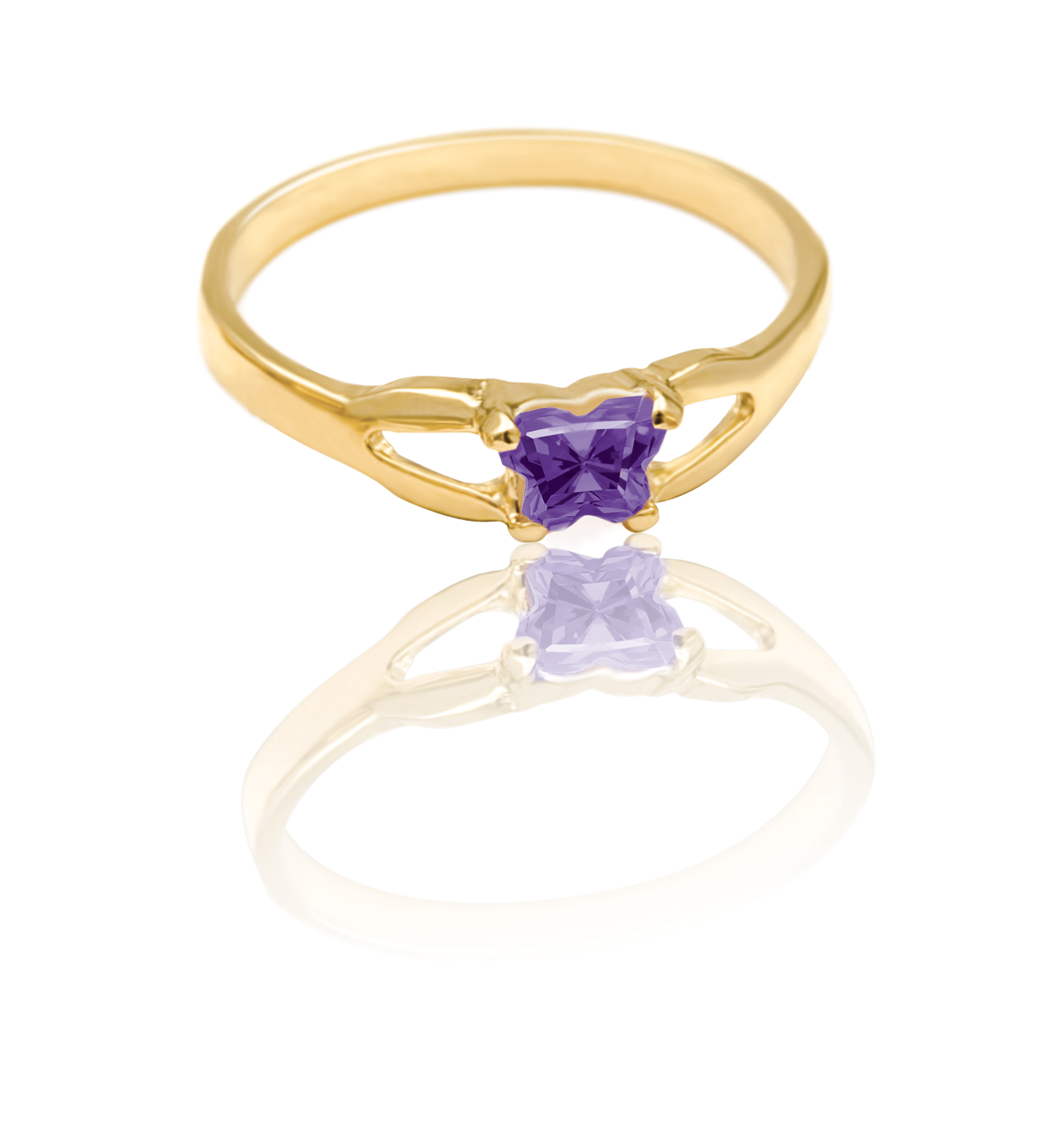 ring for child - 10K yellow Gold & Purple cubic zirconia (month of February)*