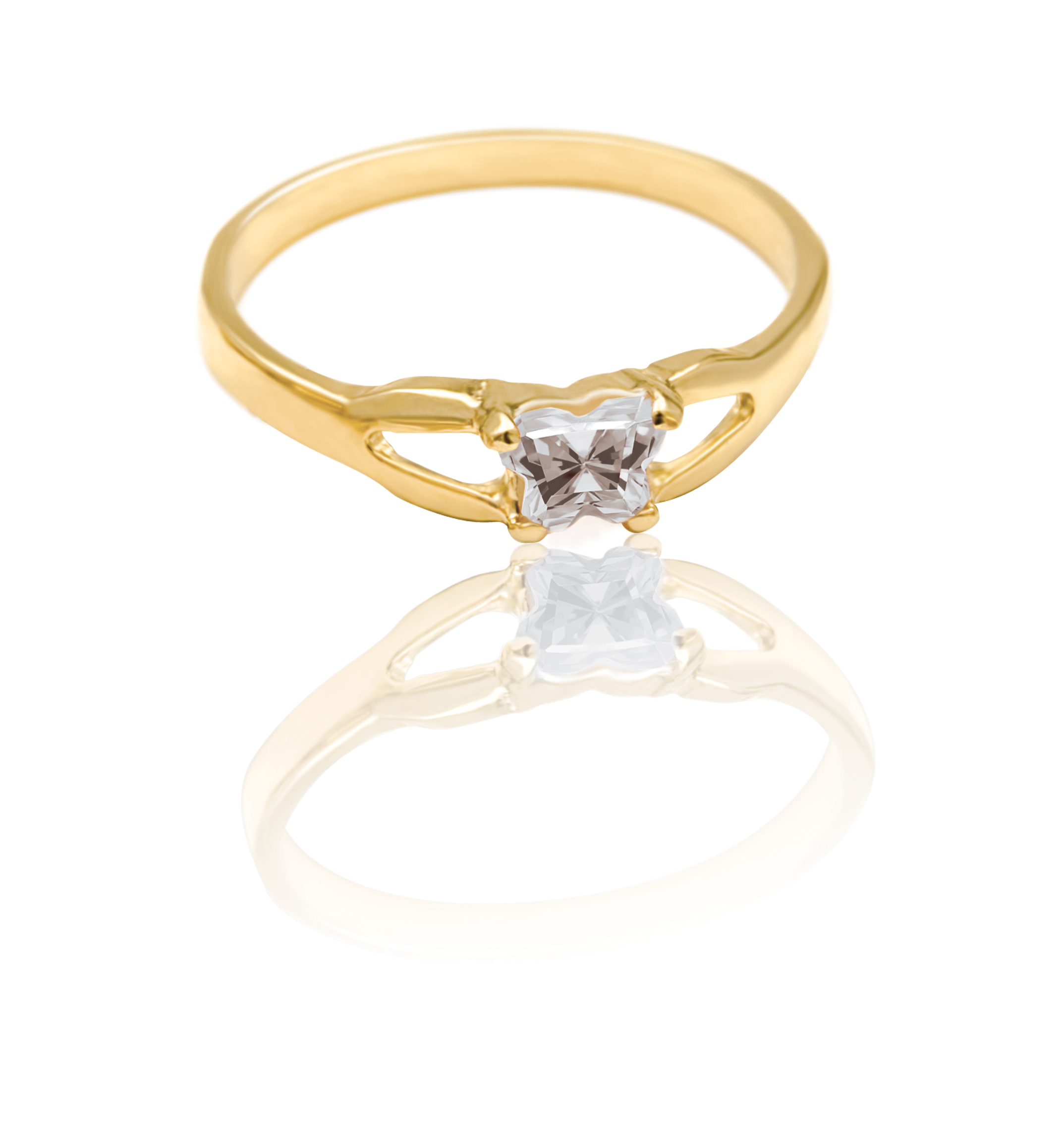 ring for child - 10K yellow Gold & Cubic zirconia (month of April)*