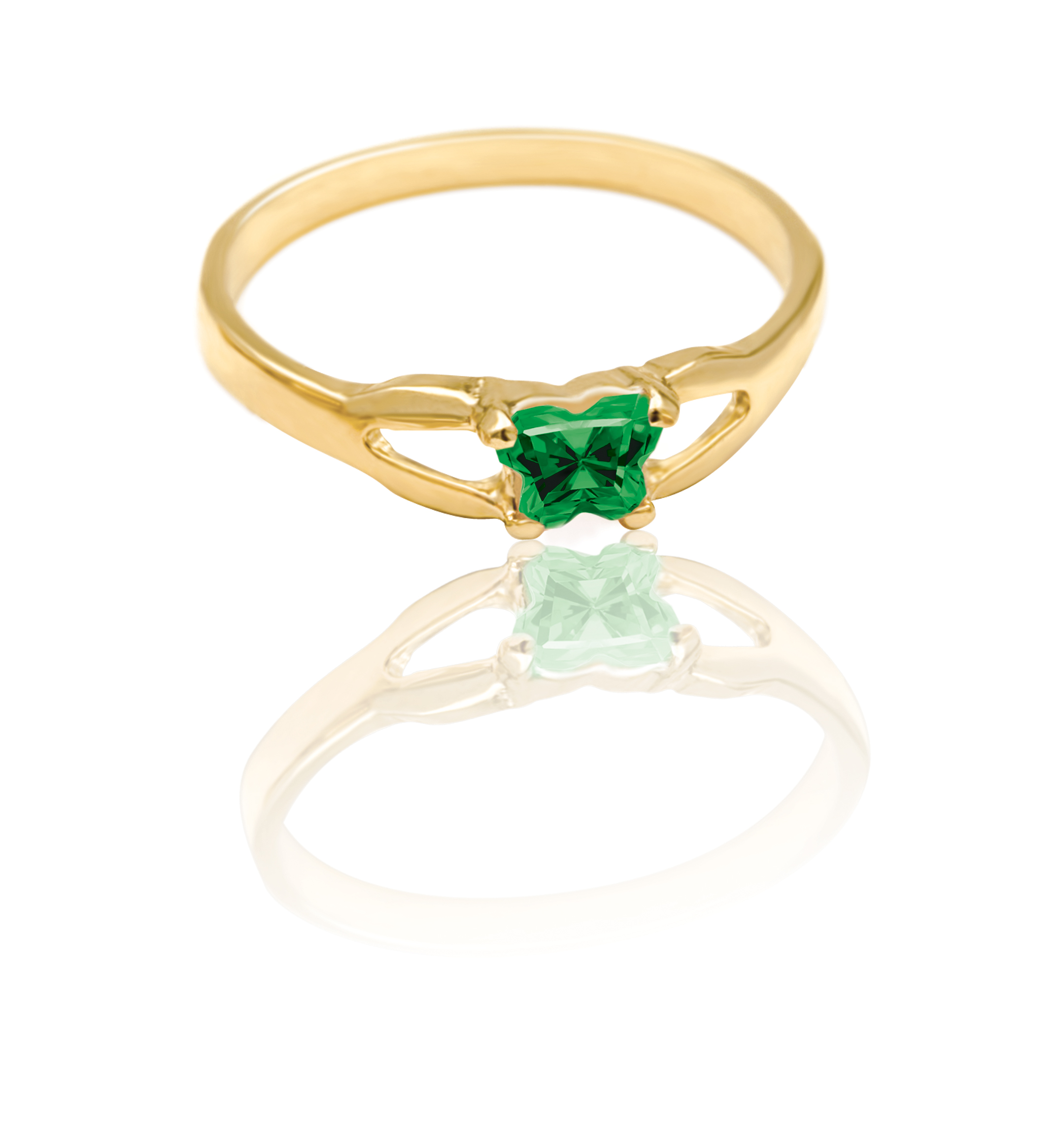 ring for child - 10K yellow Gold & Green cubic zirconia (month of May)*