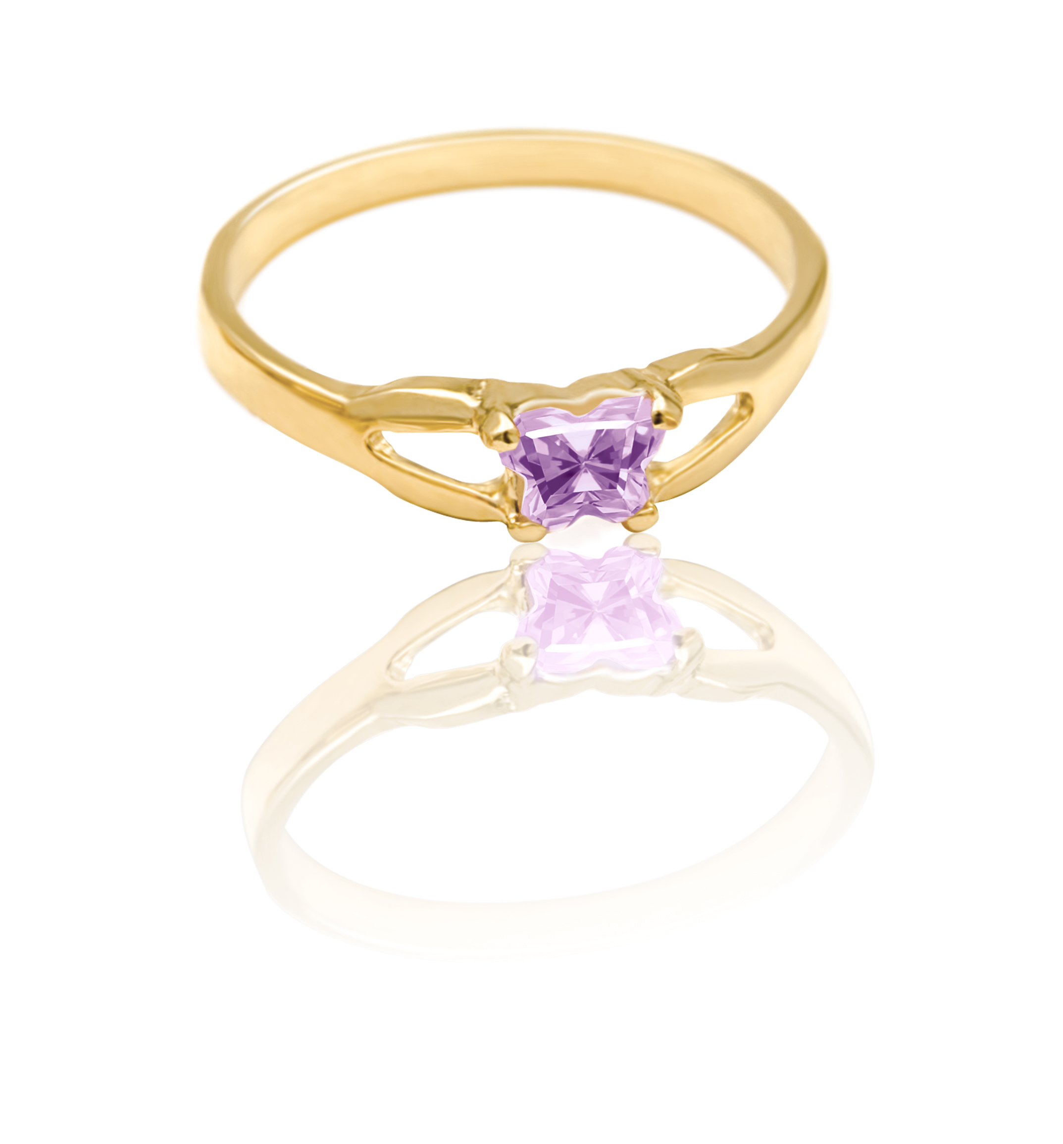ring for child - 10K yellow Gold & Light purple cubic zirconia (month of June)*
