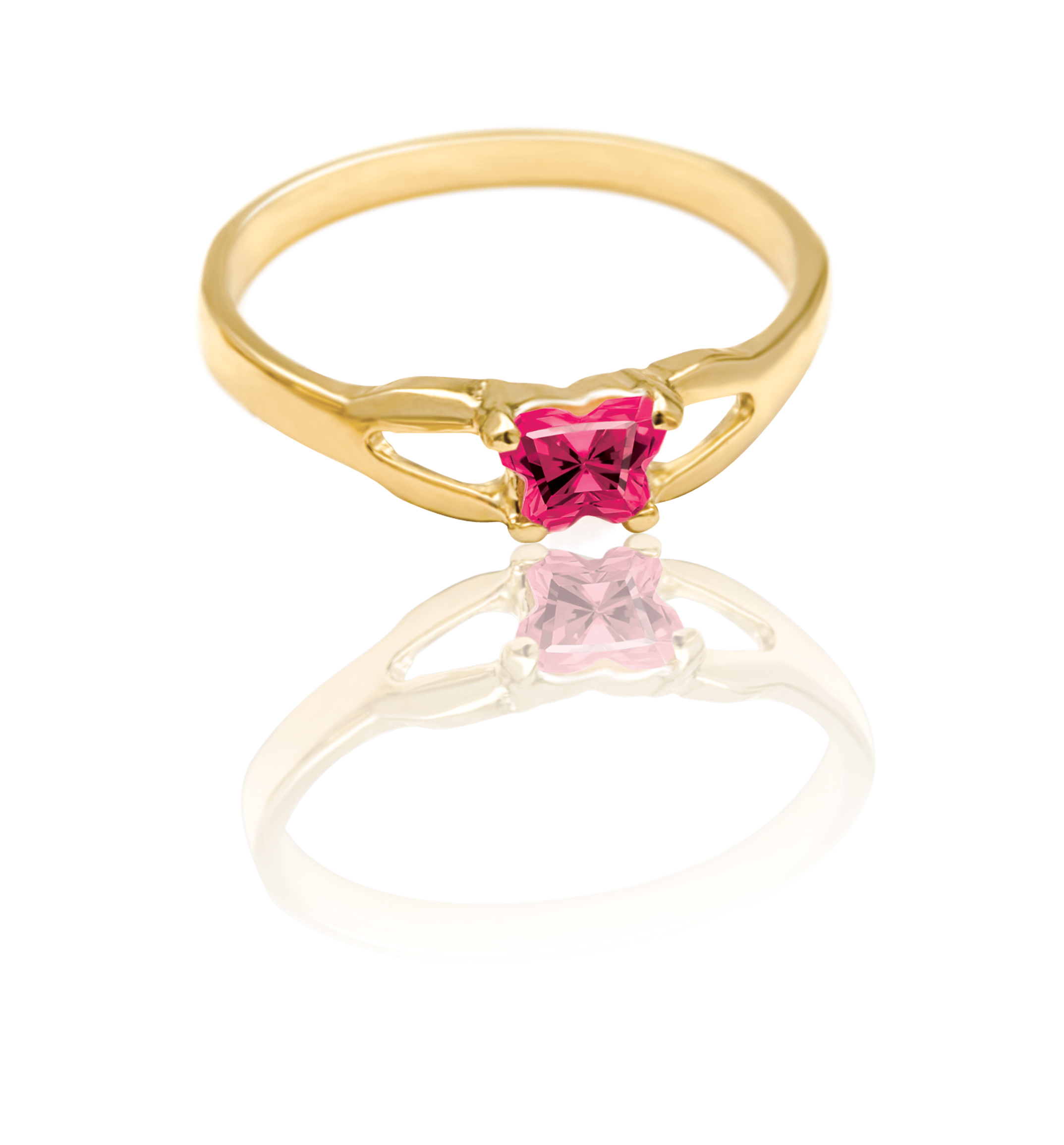 ring for child - 10K yellow Gold & Pinkish-red cubic zirconia (month of July)*