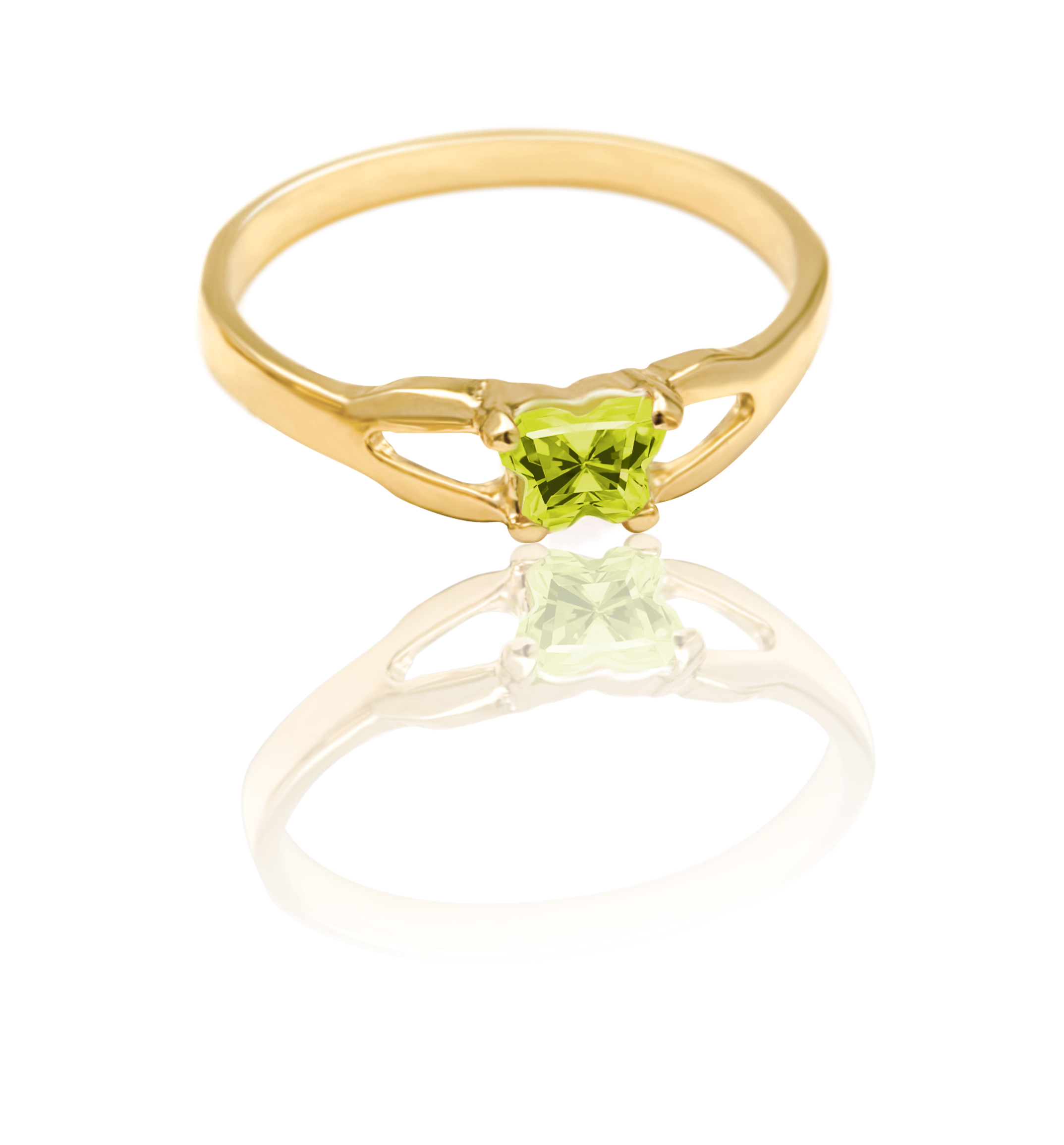 ring for child - 10K yellow Gold & Yellowish-green cubic zirconia (month of August)*