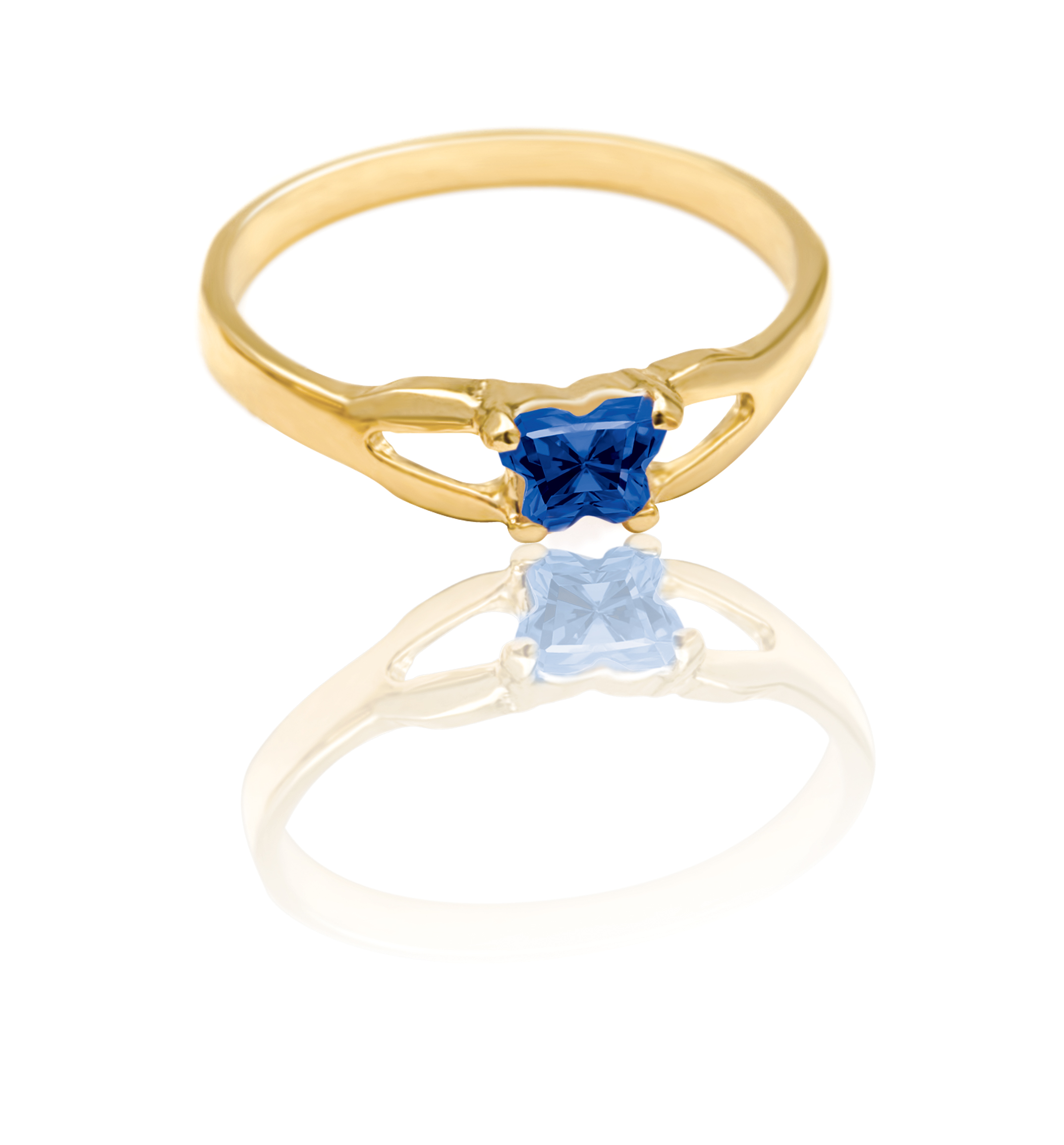 ring for child - 10K yellow Gold & Dark blue cubic zirconia (month of September)*