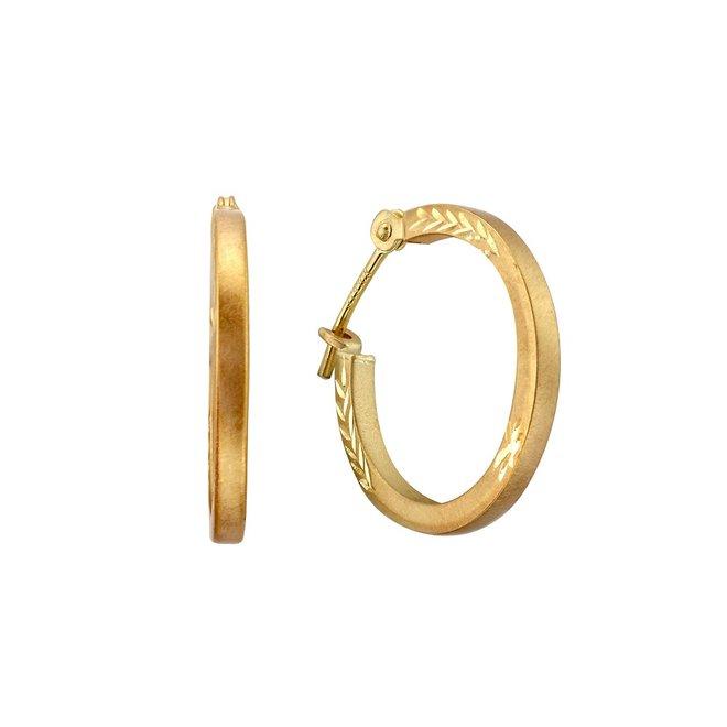Boucles d'oreilles anneaux avec un fini coupe diamant - Or jaune 10K