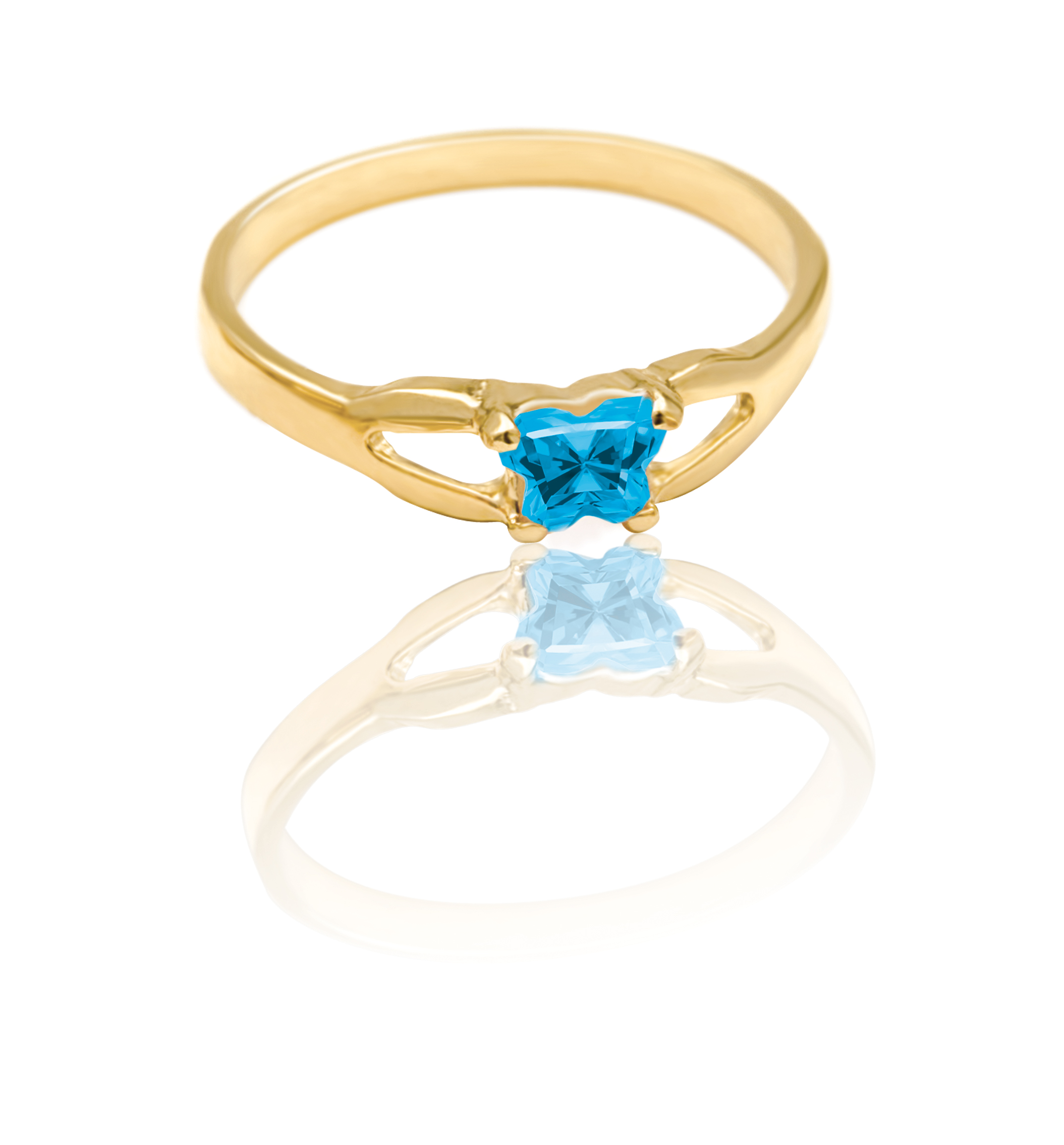 ring for child - 10K yellow Gold &  Blue cubic zirconia (month of December)*