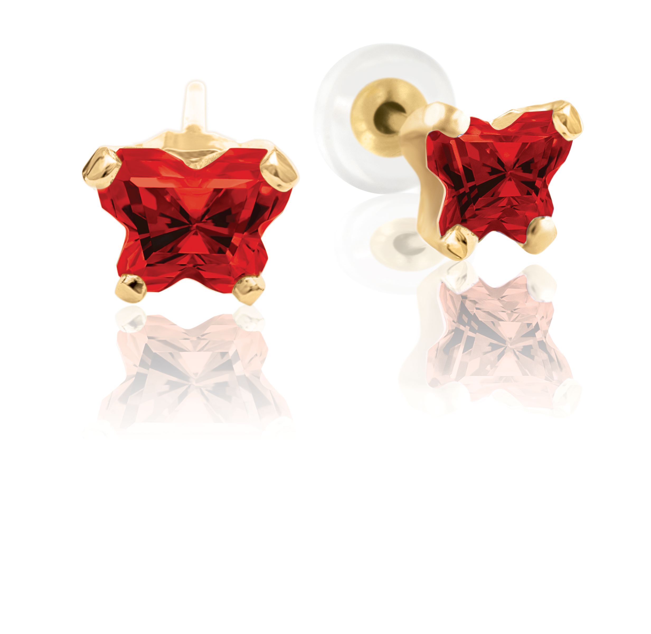 Boucles d'oreilles à tiges fixes BFLY pour bébé sertis de zircons cubiques rouge foncé (mois de janvier) - Or jaune 10K