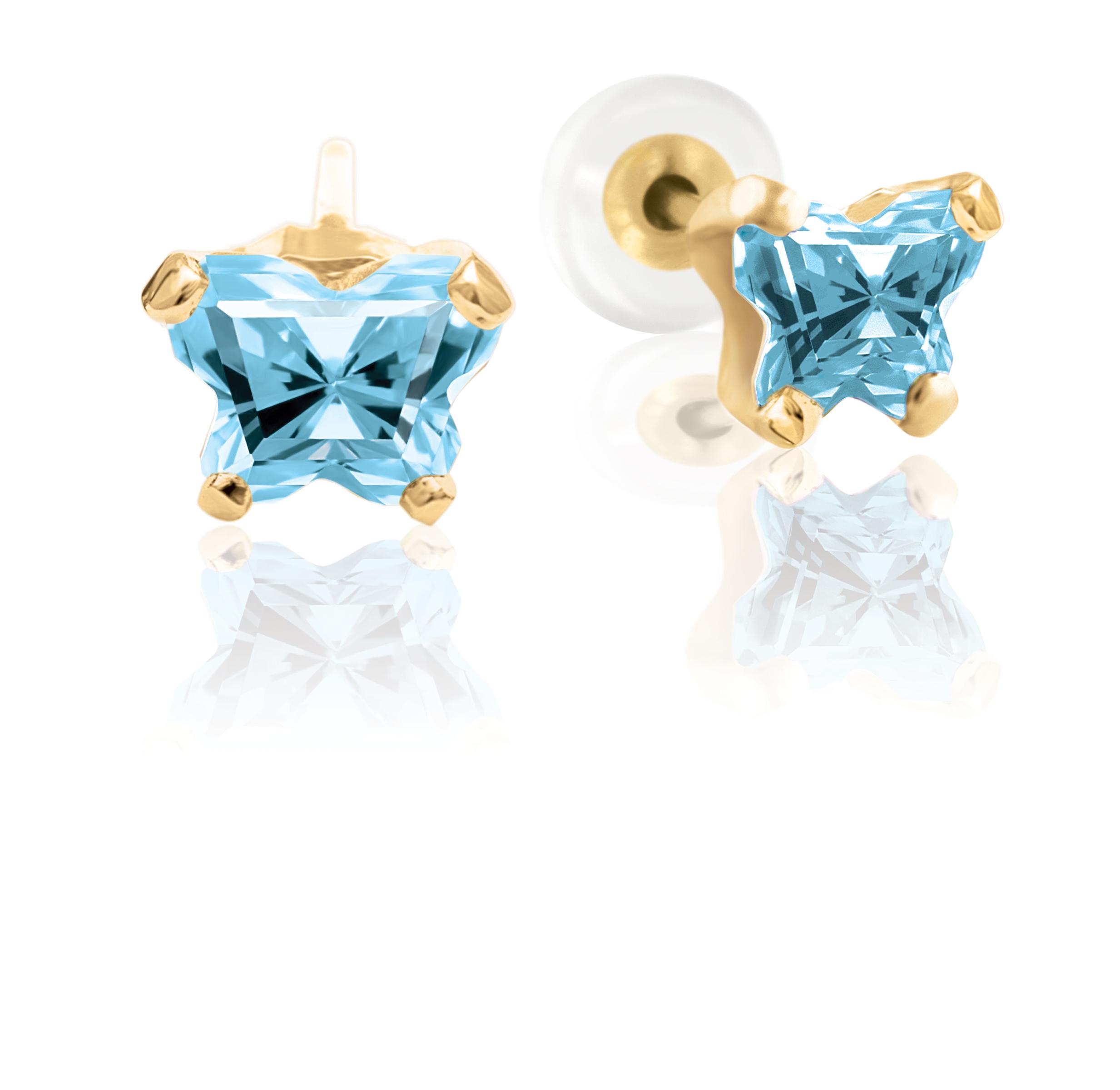 Boucles d'oreilles à tiges fixes BFLY pour bébé sertis de zircons cubiques bleu pâle (mois de mars) - en or jaune 10K