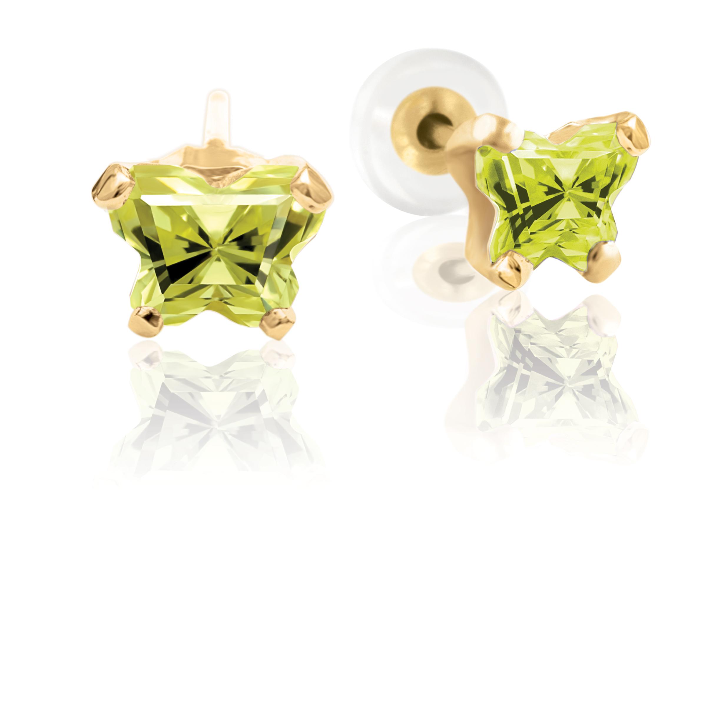 Boucles d'oreilles à tiges fixes BFLY pour bébé sertis de zircons cubiques jaunes-verts (mois d'août) - en or jaune 10K