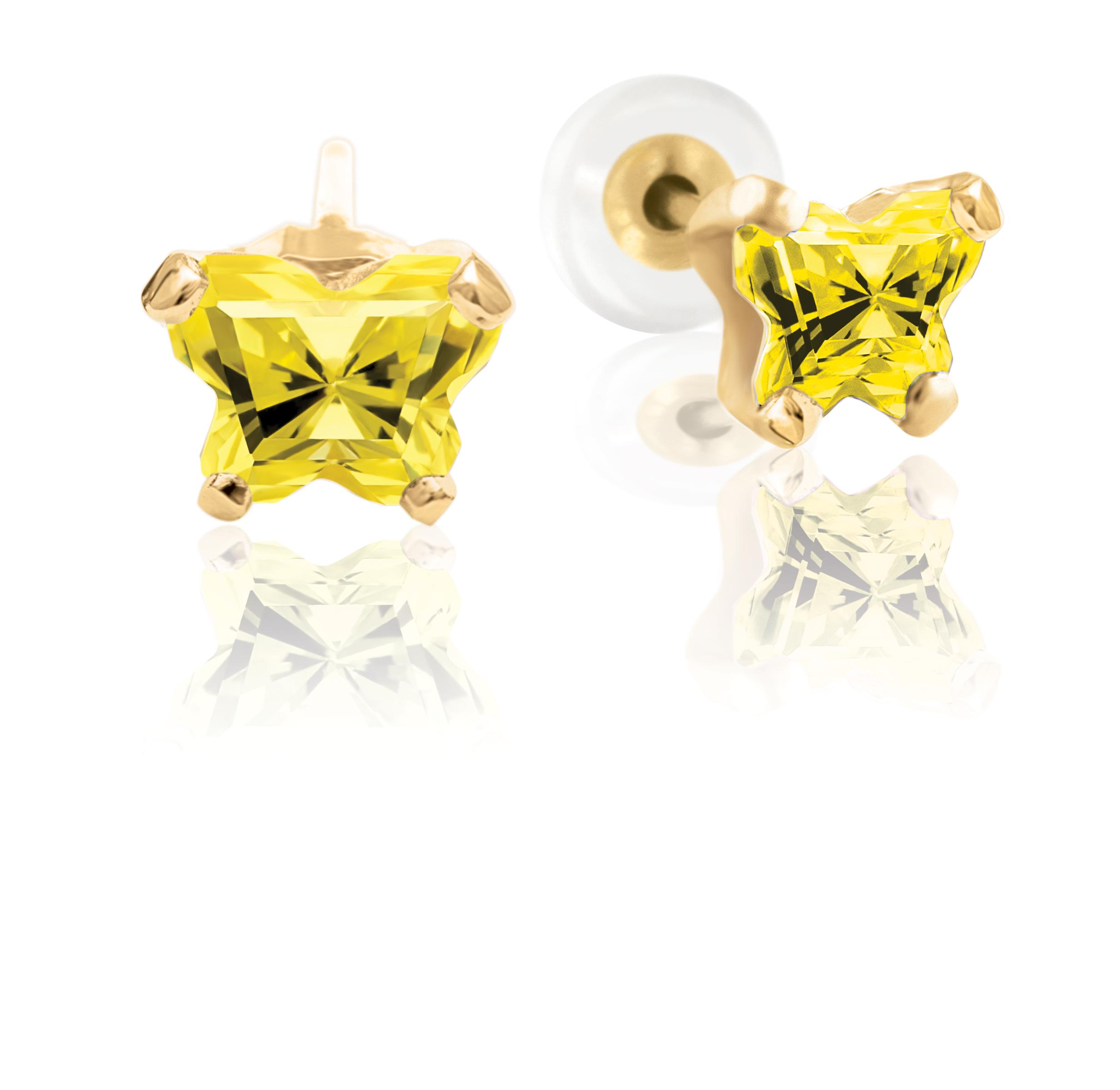 Boucles d'oreilles BFLY à tiges fixes pour bébé sertis de zircons cubiques jaunes (mois de novembre) - en or jaune 10K