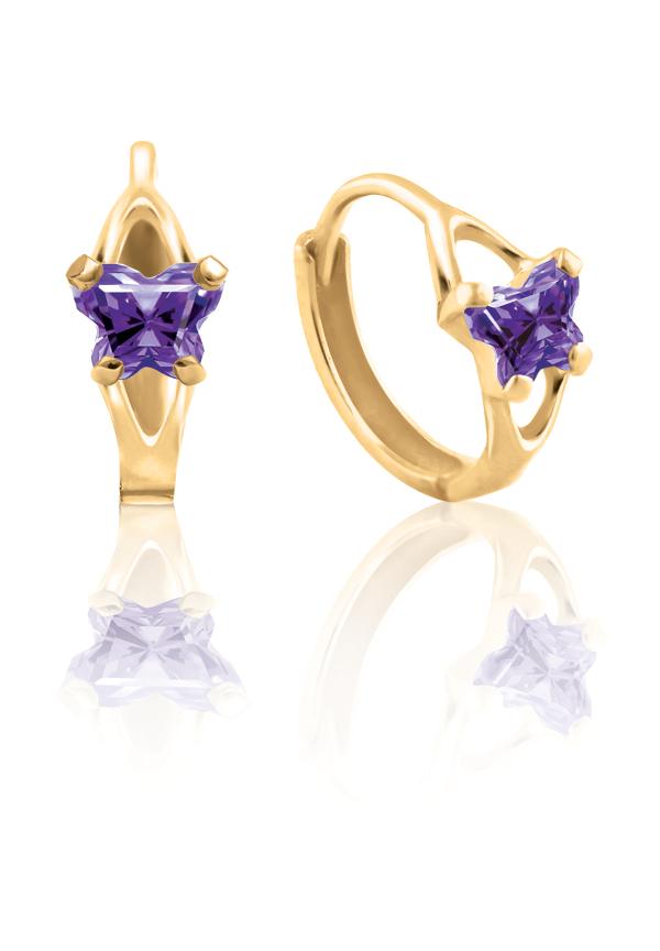 Boucles d'oreilles anneaux (huggies) BFLY pour bambins sertis de zircons cubiques mauves (mois de Février) - en or jaune 10K
