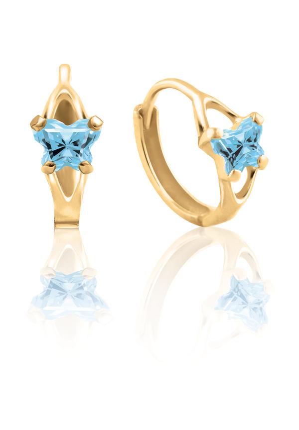 Boucles d'oreilles anneaux (huggies) BFLY pour bambins sertis de zircons cubiques bleus pâles (mois de mars) - en or jaune 10K