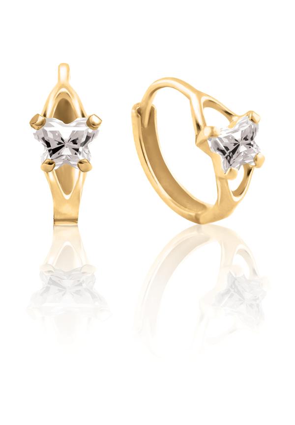 Boucles d'oreilles anneaux (huggies) BFLY pour bambins sertis de zircons cubiques (mois d'avril) - en or jaune 10K