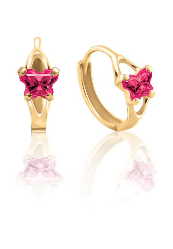 Boucles d'oreilles anneaux (huggies) BFLY pour bambins sertis de zircons cubiques roses foncés-rouges (mois de juillet) - en or jaune 10K