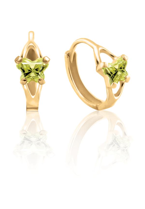 Boucles d'oreilles anneaux (huggies) BFLY pour bambins sertis de zircons cubiques jaunes-verts (mois d'août) - en or jaune 10K