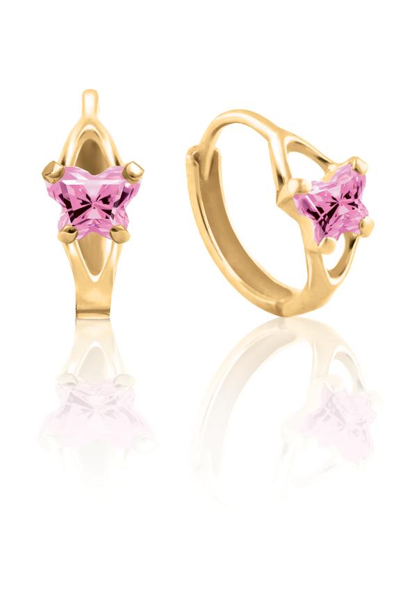 Boucles d'oreilles anneaux (huggies) BFLY pour bambins sertis de zircons cubiques roses (mois d'Octobre) - Or jaune 10K