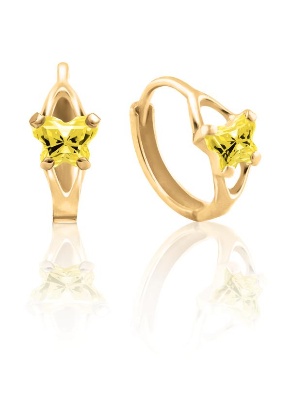 Boucles d'oreilles anneaux (huggies) BFLY pour bambins sertis de zircons cubiques jaunes (mois de novembre) - en or jaune 10K