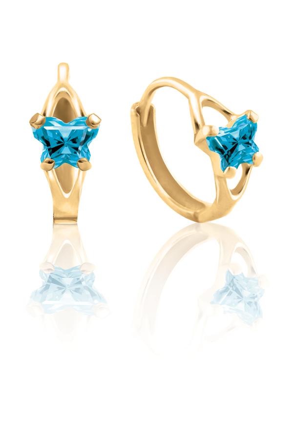 Boucles d'oreilles anneaux (huggies) BFLY pour bambins sertis de zircons cubiques bleus (mois de décembre) - en or jaune 10K