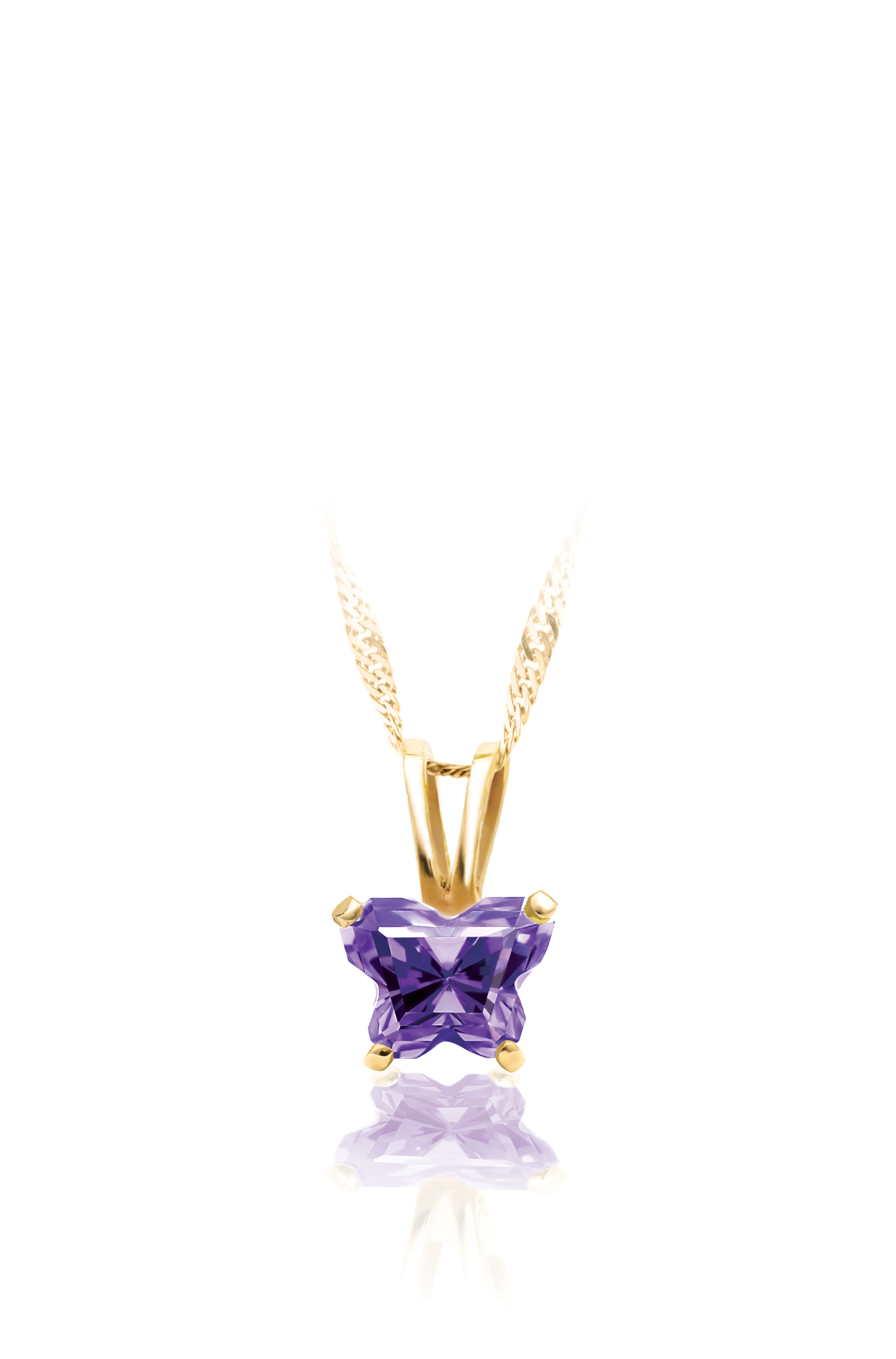 pendant for babies with purple cubic zirconia (month of February) - in 10K yellow Gold - chain not included