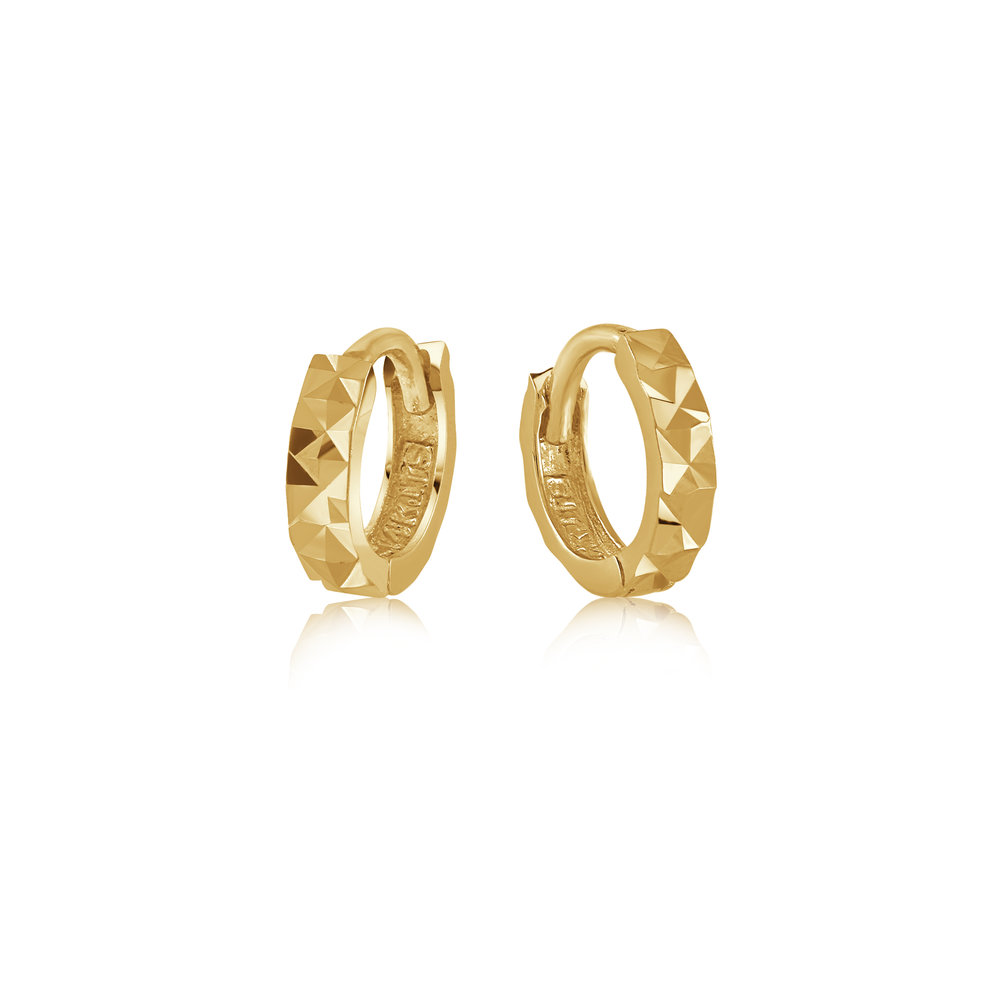 Hoop earrings with a diamond cut finish for babies - 14K yellow Gold