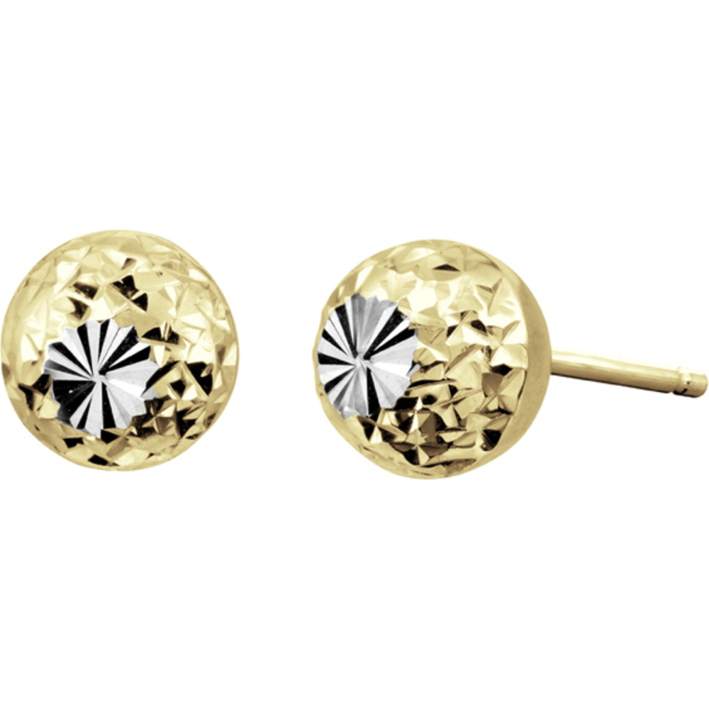 6mm ball stud earrings - 10K 2 tone Gold (yellow and white)