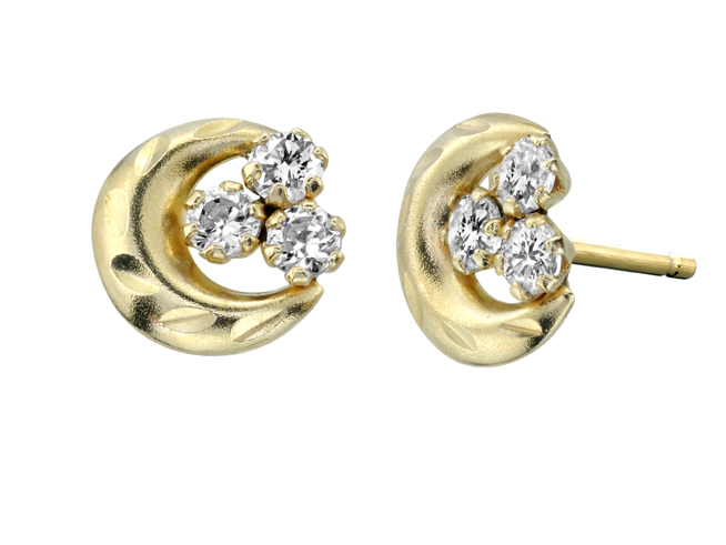 Moon crescent stud earrings with cubic zirconia for children - 10K yellow Gold