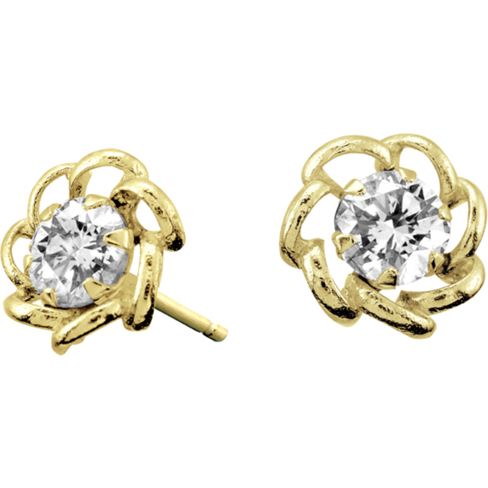 Flower stud earrings with cubic zirconia for children - 10K yellow Gold