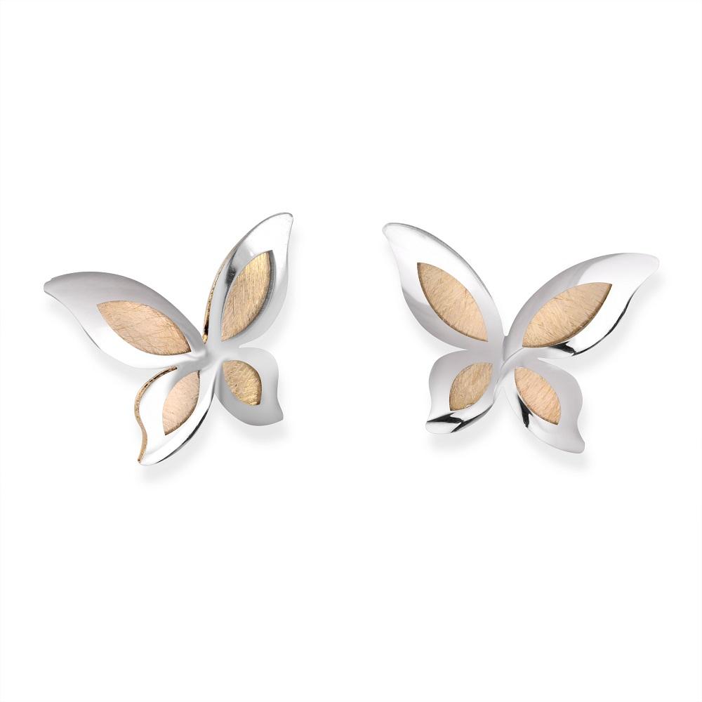 Butterfly stud earrings for child - 10K 2 tone Gold