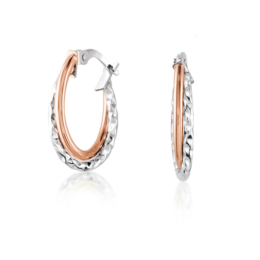 Boucles d'oreilles anneaux - Or 2-tons 10K (blanc et rose)