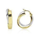 Boucles d'oreilles anneaux - en Or 2-tons 10K (jaune et blanc)